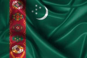 Realistic wavy flag of Turkmenistan.
